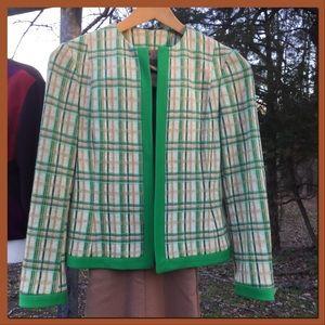 Vtg. Brown Plaid w/Green Trim Jacket, sz 8